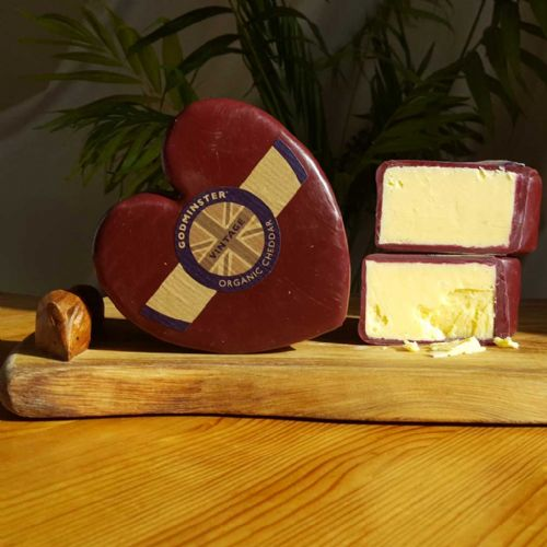 Godminster Cheddar Heart Cheese, burgundy waxed organic cheddar heart